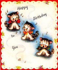 Vintage Birthday Card Three Kittens