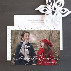 Merry Christmas Script Holiday Photo Cards by Phrosné Ras Christmas Photo Cards, Christmas Greeting Cards, Christmas Greetings, Merry Christmas, Wedding Stationery, Wedding Invitations, Cool Patterns, Save The Date, Albums