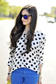Polka dots and blue From petitsweetcouture.blogspot.fr