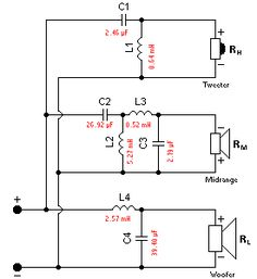 This crossover calculator can be employed for the calculation of passive filters (first, second, third, and fourth order) in two-way and three-way crossover networks. It will also create a circuit diagram and provide the component values you require Electronic Circuit Design, Electronic Engineering, Electronics Projects, Audio Crossover, Diy Speakers, Speaker Wire, Homemade Speakers, Speaker Plans, Speaker Box Design
