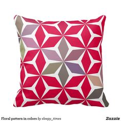 Floral geometric pattern throw pillow. Perfect for #bedroom or #livingroom. http://www.zazzle.com/floral_pattern_in_colors_throw_pillow-189425485561545682