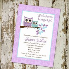 owl baby shower invitations, baby girl, owl with damask background, digital, printable file (item 1317b). $13.00, via Etsy.