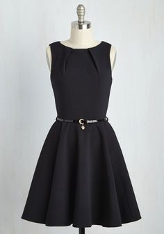 Luck Be a Lady A-Line Dress in Black by Closet London - Black, Solid, Belted, Sleeveless, Better, Woven, Exposed zipper, Pleats, Pockets, Variation, Boat, Gifts Sale, Best Seller, Work, LBD, Mid-length, Fit & Flare, Top Rated, Vintage Inspired, Fall, Winter, Cocktail