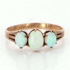 Antique Edwardian 10 Karat Rose Gold Three Stone Opal Ring Vintage Estate Jewelry