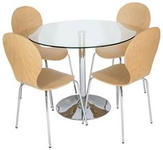 Clear Glass Dining Table with 4 Light Wooden Dining Chairs - Table & Set of 4 Light Wooden Chairs from LEVV