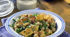 Warm Pumpkin and Chickpea Salad with Tahini Dressing by Greek chef Akis Petretzikis. A great choice if you are looking for a tasty veggie or dairy free recipe! Tahini Dressing, Chickpea Salad, Potato Salad, Potatoes, Pumpkin, Ethnic Recipes, Food, Warm, Drink