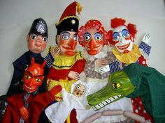 A complete set of Punch and Judy puppets