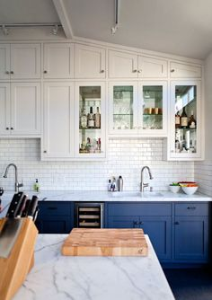 Uplifting Kitchen Remodeling Choosing Your New Kitchen Cabinets Ideas. Delightful Kitchen Remodeling Choosing Your New Kitchen Cabinets Ideas. Blue Gray Kitchen Cabinets, Two Tone Kitchen Cabinets, Kitchen Cabinet Colors, Upper Cabinets, Kitchen Colors, White Cabinets, Colored Cabinets, Wood Cabinets, Glass Cabinets
