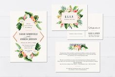 Printable Tropical Wedding Invitation SetDestination Wedding
