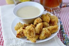 Baked Popcorn Chicken with Maple-Dijon Dipping Sauce by Iowa Girl Eats