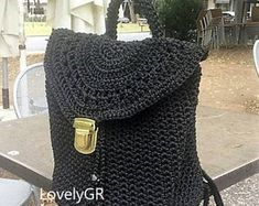 Crochet backpack Bobble Stitch made of polyester cord yarn in black color. Backpack sizes cm, height 35 cm, 60 cm long strap or inches. Crochet Shoulder Bags, Crochet Backpack, Bobble Stitch, Crochet Woman, Cotton Bag, Beautiful Bags, Plastic Canvas, Black Satin, Handmade