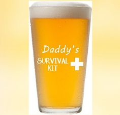Fathers Day Dad Survival Beer Funny 16 oz Pint Glass Permanently Etched Cup Dish
