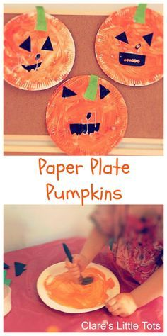 Paper plate pumpkins easy Halloween craft idea for toddlers and preschoolers. Handwerk für Kinder , Paper plate pumpkins easy Halloween craft idea for toddlers and preschoolers. Paper plate pumpkins easy Halloween craft idea for toddlers and pr. Kids Crafts, Halloween Crafts For Toddlers, Daycare Crafts, Fun Diy Crafts, Fall Crafts For Kids, Holiday Crafts, Toddler Halloween Activities, Preschool Fall Crafts, Fall Activities For Toddlers