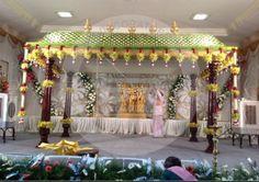 Mandap Marriage Decoration, Wedding Stage Decorations, Festival Decorations, Flower Decorations, Backdrop Design, Diy Backdrop, Wedding Mandap, Wedding Ceremony, Traditional Wedding Decor