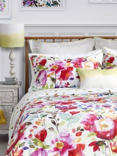 Feel good watercolour designs from bluebellgray. Bring colour and design into your life with modern and abstract floral bedding, cushions, fabric & home accessories by Scottish designer Fiona Douglas. Floral Comforter, Comforter Sets, Gray Bedding, Boho Bedding, King Comforter, Boho Pillows, Watercolor Bedding, Watercolour, Beige Bed Linen