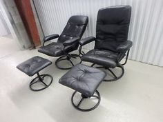 Pr of New FAUX LEATHER  RECLINER LOUNGERS + Ottoman  yyuupp    SOLD
