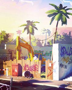 203 отметок «Нравится», 1 комментариев — MAGIC CG (@magic.cg) в Instagram: «Sylvain Sarrailh #magiccg #digitalart #digitalart #inspiration #beauty #background #street #palms…»