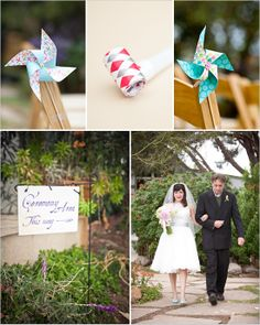 Super cute wedding! I love the windmills and the blue shoes with the short dress