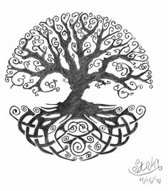 Black Ink Celtic Tree Of Life Tattoo Design By AislingH