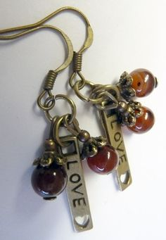 Love Earrings with polished agate beads by ArtBoxDesign on Etsy, $4.00