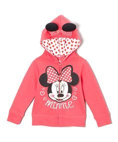 Pink 'Minnie' Ear Zip-Up Hoodie - Infant, Toddler & Girls   Daily deals for moms, babies and kids