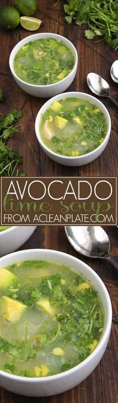 This Avocado-Lime Chicken Soup is similar in flavor to the chicken enchiladas my mom used to make. The perfect cool-weather comfort food!