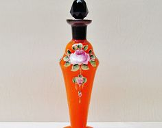 Vintage Czech perfume bottle, 1930's orange and black glass, hand painted roses
