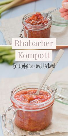Rhubarb compote - delicious and simple with only 5 ingredients Joyful food - Recipe for super simple and totally delicious rhubarb compote. Perfect with yoghurt, overnight oats - Baby Food Recipes, Dessert Recipes, Desserts, Brunch Recipes, Rhubarb Compote, Muesli, Crunches, Smoothie Recipes, Nutella