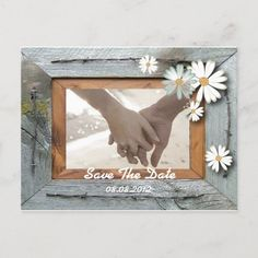 rustic barn daisy country wedding save the date announcement postcard Outdoor Wedding Invitations, Rustic Invitations, Wedding Save The Dates, Our Wedding, Daisy Wedding, Country Style Wedding, Save The Date Postcards, Wedding In The Woods, Rustic Barn