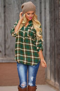 High Expectations Top - Hunter Green - Plaid from Closet Candy Boutique Pretty green with yellow tones. Casual Outfits, Cute Outfits, Fashion Outfits, Ootd Fashion, Fall Winter Outfits, Autumn Winter Fashion, Spring Fashion, Outfits Leggins, Flannel Outfits