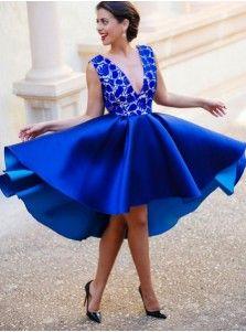 A-line V-neck Satin Backless Short Lace Royal Blue Homecoming Dress