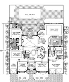 Mediterranean Style House Plan - 7 Beds 8.5 Baths 7883 Sq/Ft Plan #420-249 Floor Plan - Main Floor Plan - Houseplans.com