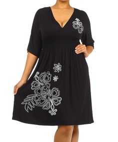 Look at this J-MODE USA Black Floral Shirred Dress - Plus on #zulily today!