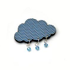 Rain Cloud Brooch, Wooden Weather Brooch, Cloud Badge