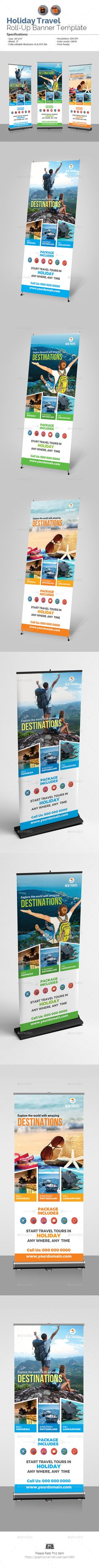 Holiday Travel Roll-Up Banner Template - #Signage Print Templates Download here: https://graphicriver.net/item/holiday-travel-rollup-banner-template/20084589?ref=alena994