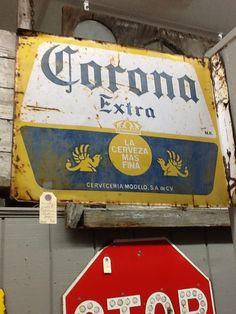vintage 2-sided metal Corona Beer sign