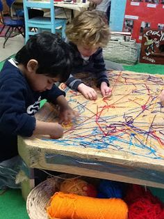 Good Free sewing table setup Thoughts Playfully Learning: Sewing Table-A Collaborative Fine Motor Experience Fine motor activity Gross Motor Activities, Gross Motor Skills, Toddler Activities, Activities For Kids, Finger Gym, Funky Fingers, Reggio Classroom, Creative Curriculum, Yarns
