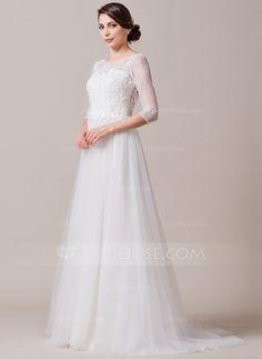 A-Line/Princess Scoop Neck Court Train Tulle Lace Wedding Dress (002065588)