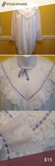 Vintage 60s nylon pajamas nightshirt nighty 60s M Light weight white nylon with a gorgeous lace front and trimmed arms with purple ribbon. Gown has rounded slits up each side. No flaws, no tag looks to be a Medium.  48 inches around and 32 inches in  length. Vintage Intimates & Sleepwear Pajamas