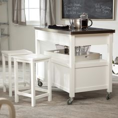 Belham Living Concord Kitchen Island with Optional Stools - White - If there's one room in your house that gets a lot of wear-and-tear, it's the kitchen. That's why you need a versatile island that performs all functio...