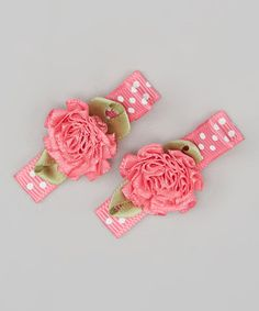 Loving this Pink Ribbon Rose Clip Set on #zulily! #zulilyfinds