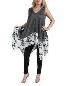 This Gray Floral Handkerchief Tunic - Plus Too is perfect! #zulilyfinds