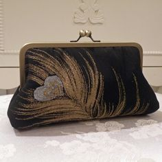 black and gold purses | Silk Kimono Fabric Clutch/Purse/Purse..Black w/gold and silver Peacock ...