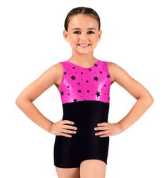 Flocked Star Metallic Tank Biketard - Gymnastics | DiscountDance.com