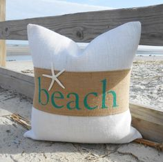 Beach or sand burlap & starfish pillow cover 18x18 natural and off white burlap by LowCountryHome on Etsy https://www.etsy.com/listing/174746796/beach-or-sand-burlap-starfish-pillow