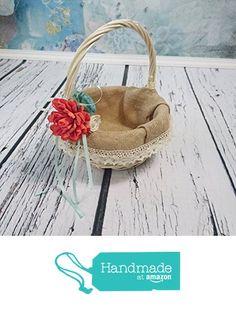 Wedding Flower Girl Basket with Burlap Cotton Lace and Sola Flowers Decoration in Coral and Mint from MKedraWedding https://www.amazon.com/dp/B01FZTZ4RY/ref=hnd_sw_r_pi_awdo_HS2EzbEZC9DZ6 #handmadeatamazon