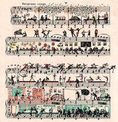 Sheet music with clever illustrations, FUN design! Street Art Graffiti, Art Postal, Handwritten Text, Sheet Music Art, Music Sheets, Music Artwork, Art Plastique, Music Notes, Art Photography
