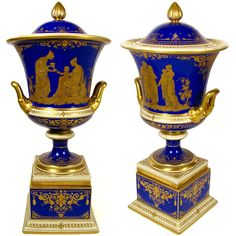 Large Antique A. Lamm Dresden German Porcelain Cobalt Blue Hand Painted Raised Gold Lidded Urn from The Antique Boutique on Ruby Lane