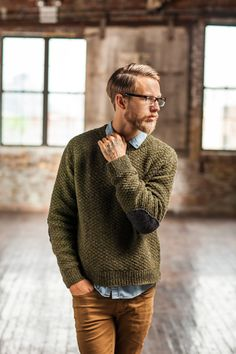 cocoknits blog site ...... pattern 'Fort' by Jaren Flood for Brooklyn Tweed.  Textured sweater with elbow patches