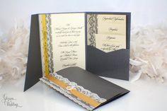 Modern Lace Wedding Invitation by SDezigns on Etsy